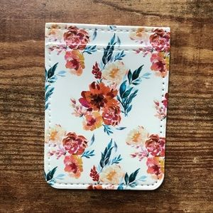 Floral Print Faux Leather Phone Card Holder